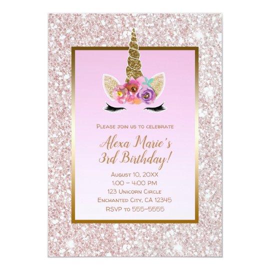 white pink glitter gold unicorn birthday party invitation zazzle com