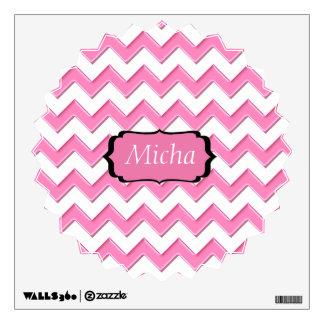 White & Pink Glossy Chevron Monogram Wall Sticker