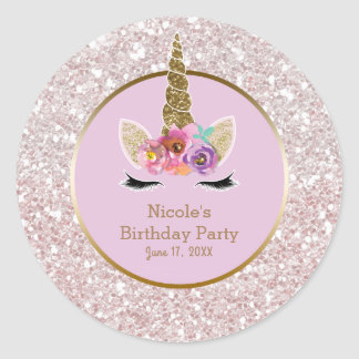 White Pink Gold Glitter Glam Unicorn Party Favor Classic Round Sticker