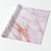 White Pink Gray Marble Shiny  Brushes Wrapping Paper