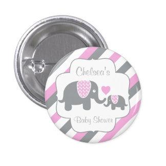 White, Pink & Gray Stripe Elephants Baby Shower 1 Inch Round Button