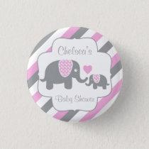 White, Pink & Gray Stripe Elephants Baby Shower Button
