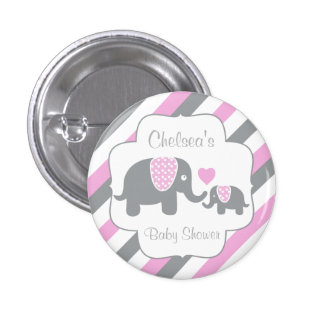 White, Pink & Gray Stripe Elephants Baby Shower Button