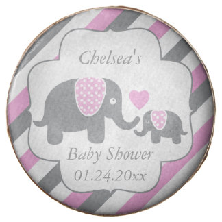 White, Pink & Gray Stripe Elephants Baby Shower Chocolate Dipped Oreo