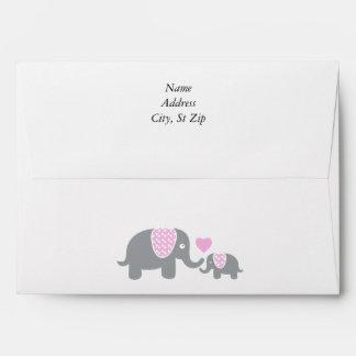 White, Pink & Gray Stripe Elephants Baby Shower Envelope