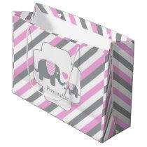 White, Pink & Gray Stripe Elephants Baby Shower Large Gift Bag