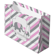 White, Pink & Gray Stripe Elephants Baby Shower Large Gift Bag