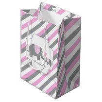 White, Pink & Gray Stripe Elephants Baby Shower Medium Gift Bag