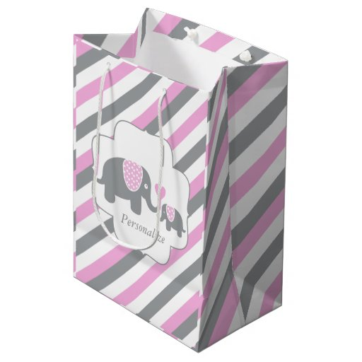 White, Pink & Gray Stripe Elephants Baby Shower Medium Gift Bag