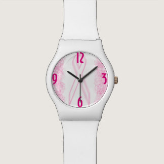 White Pink Hot Pink Breast Cancer Wrist Watch