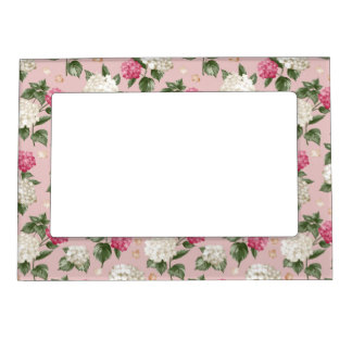 White pink Hydrangea floral seamless pattern Magnetic Picture Frame
