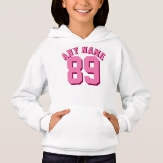 White & Pink Kids | Sports Jersey Design Hoodie