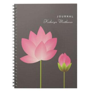 White pink lotus budding flower blossom journal notebook