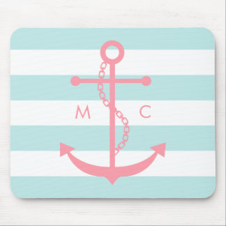 White Pink Mint Monogram Stripes Anchor Mouse Pad