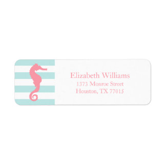 White Pink Mint Stripes Seahorse Label