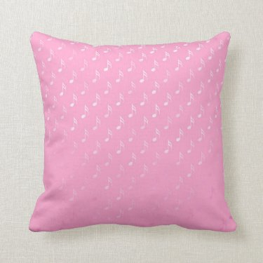 White Pink Musical Notes Metallic Faux Foil Music Throw Pillows
