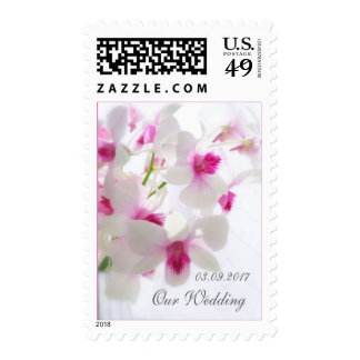 White pink orchids Wedding Postage Stamp