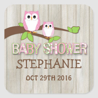 White & Pink Owl Baby Shower Stickers