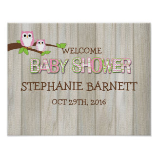White & Pink Owl Personalized Baby Shower Poster
