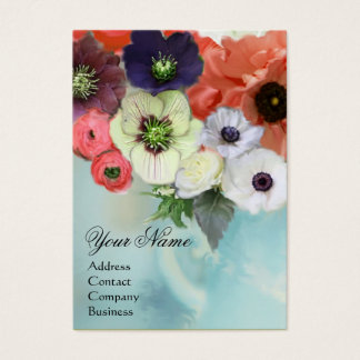 WHITE PINK RED ROSES AND ANEMONE FLOWERS MONOGRAM BUSINESS CARD