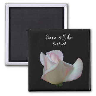 White Pink Rosebud Flower Wedding Favor Magnet