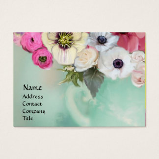 WHITE PINK ROSES AND ANEMONE FLOWERS BUSINESS CARD