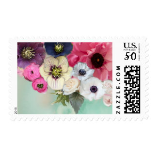 WHITE PINK ROSES AND ANEMONE FLOWERS IN BLUE POSTAGE