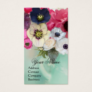 WHITE PINK  ROSES AND ANEMONE FLOWERS MONOGRAM BUSINESS CARD