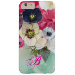 WHITE PINK ROSES AND ANEMONE FLOWERS MONOGRAM BARELY THERE iPhone 6 PLUS CASE