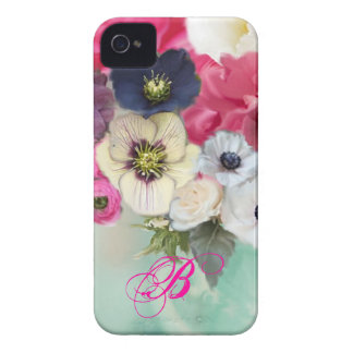 WHITE PINK ROSES AND ANEMONE FLOWERS MONOGRAM iPhone 4 CASE