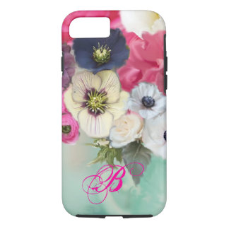 WHITE PINK ROSES AND ANEMONE FLOWERS MONOGRAM iPhone 8/7 CASE