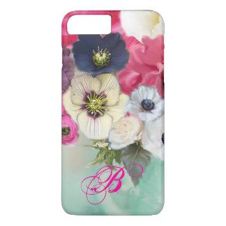 WHITE PINK ROSES AND ANEMONE FLOWERS MONOGRAM iPhone 8 PLUS/7 PLUS CASE