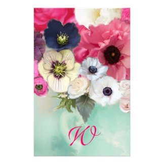 WHITE PINK ROSES AND ANEMONE FLOWERS MONOGRAM STATIONERY