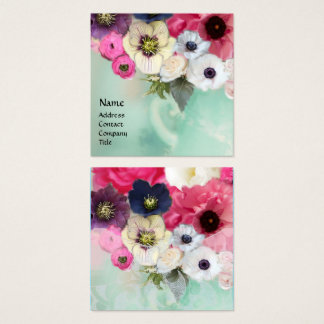 WHITE PINK ROSES AND ANEMONE FLOWERS SQUARE BUSINESS CARD