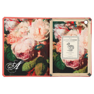WHITE PINK ROSES AND MORNING GLORY MONOGRAM iPad AIR COVER