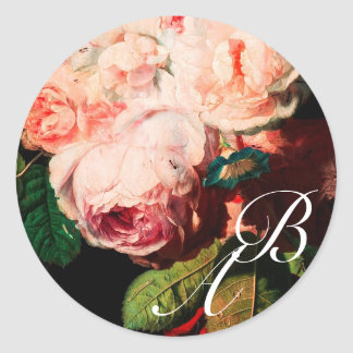 WHITE PINK ROSES AND MORNING GLORY MONOGRAM CLASSIC ROUND STICKER