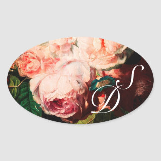 WHITE PINK ROSES AND MORNING GLORY MONOGRAM OVAL STICKER