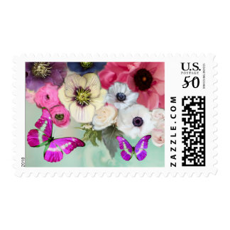 WHITE PINK ROSES,ANEMONE FLOWERS AND BUTTERFLIES POSTAGE