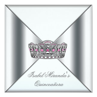 White Pink Silver Tiara Quinceanera 15th Party Card