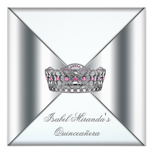 White Pink Silver Tiara Quinceanera 15th Party Custom Invitation