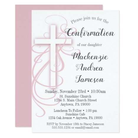 White Pink Swirl Cross Confirmation Invitation