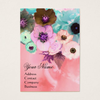 WHITE PINK TEAL ROSES AND ANEMONE FLOWERS MONOGRAM BUSINESS CARD