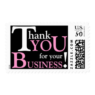 """White & Pink """"Thank you for your Business"""" Postage"""