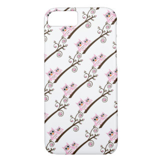 White & Pink Theme Owls iPhone 7 Case