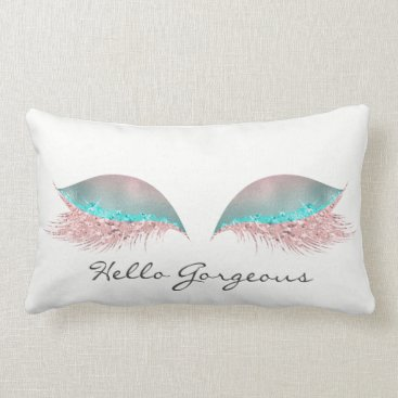 McTiffany Tiffany Aqua White Pink Tiffany  Makeup Lashes Hello Gorgeous Lumbar Pillow