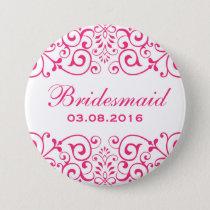 White Pink Victorian Floral Bridesmaid Button