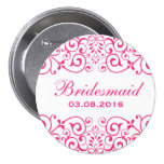 White Pink Victorian Floral Bridesmaid Button
