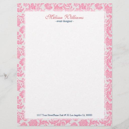 White  & Pink Vintage Damasks Pattern Letterhead