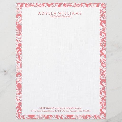 White & Pink Vintage Floral Damasks Pattern Letterhead