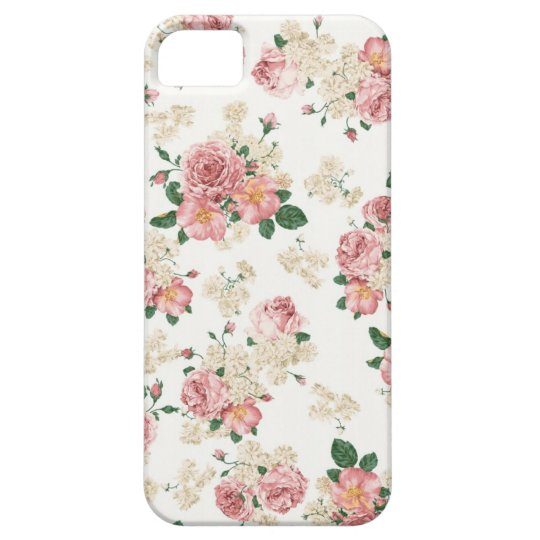 White & Pink Vintage Floral iPhone 5 Case